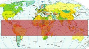 Mapa Mundi que mostra a Zona Tropical onde reina o Clima Tropical